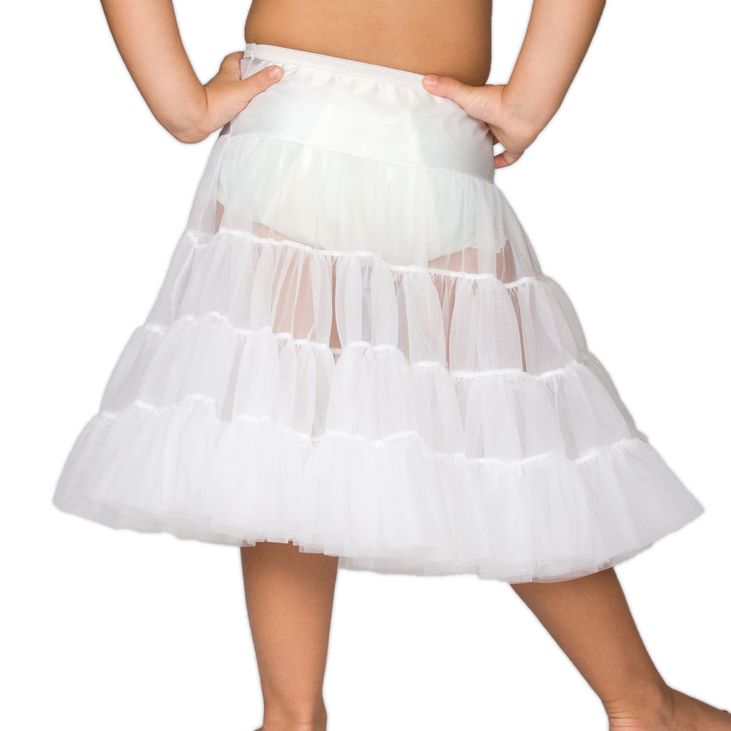 Girls White Bouffant Half-Slip Petticoat - Tea Length, (2T - 12) - I.C. Collections - Laura Dare Sleepwear - 2
