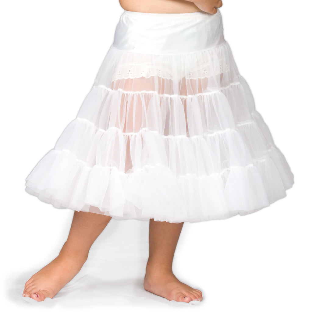Girls White Bouffant Half-Slip Petticoat - Tea Length, (2T - 12) - I.C. Collections - Laura Dare Sleepwear - 1