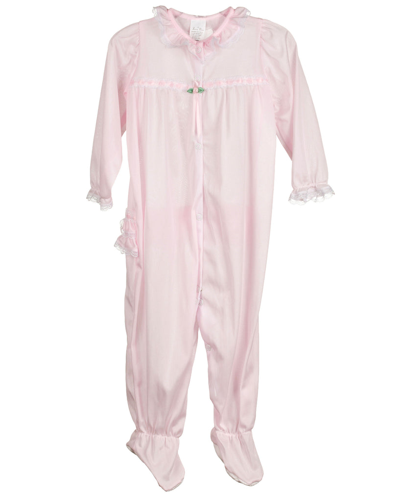 Laura Dare Baby Girls Long Sleeve Infant Jumpsuit PJ (Pink or Red) - Laura Dare - Laura Dare Sleepwear - 3