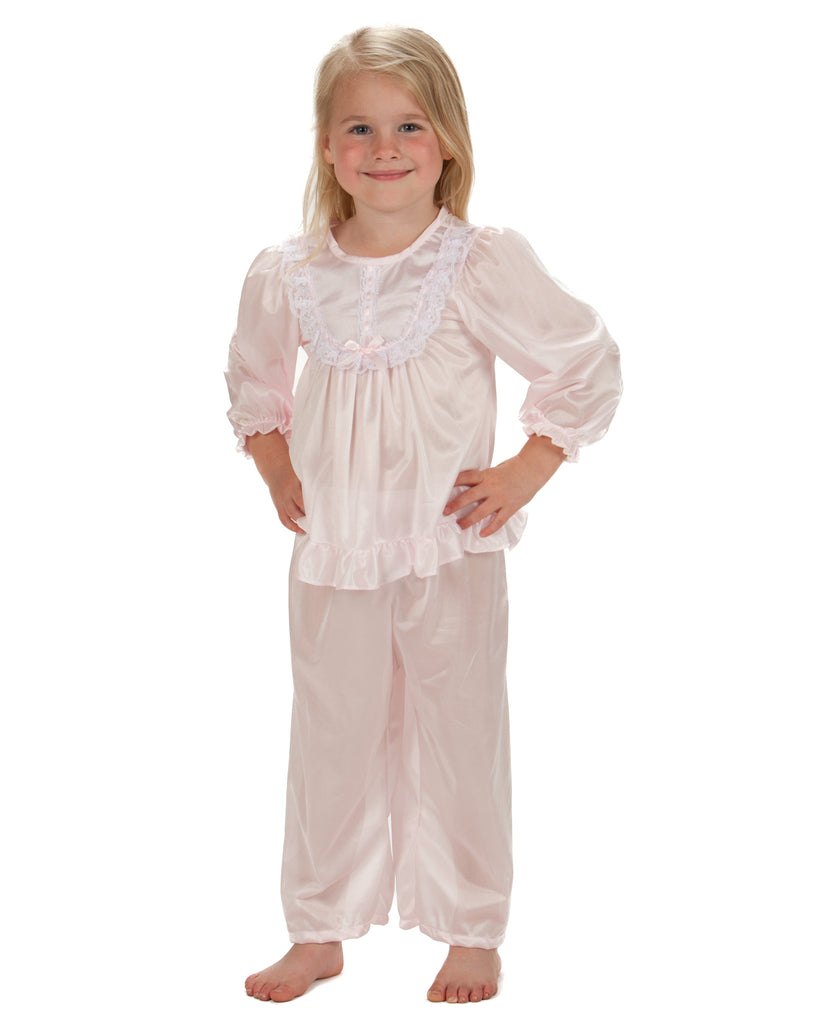 Laura Dare Girls Long Sleeve Traditional PJ Set (6 Colors Available) - Laura Dare - Laura Dare Sleepwear - 3