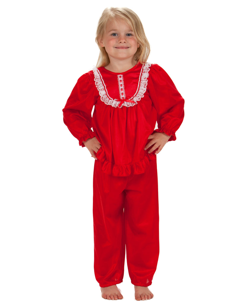 Laura Dare Girls Long Sleeve Traditional PJ Set (6 Colors Available) - Laura Dare - Laura Dare Sleepwear - 2