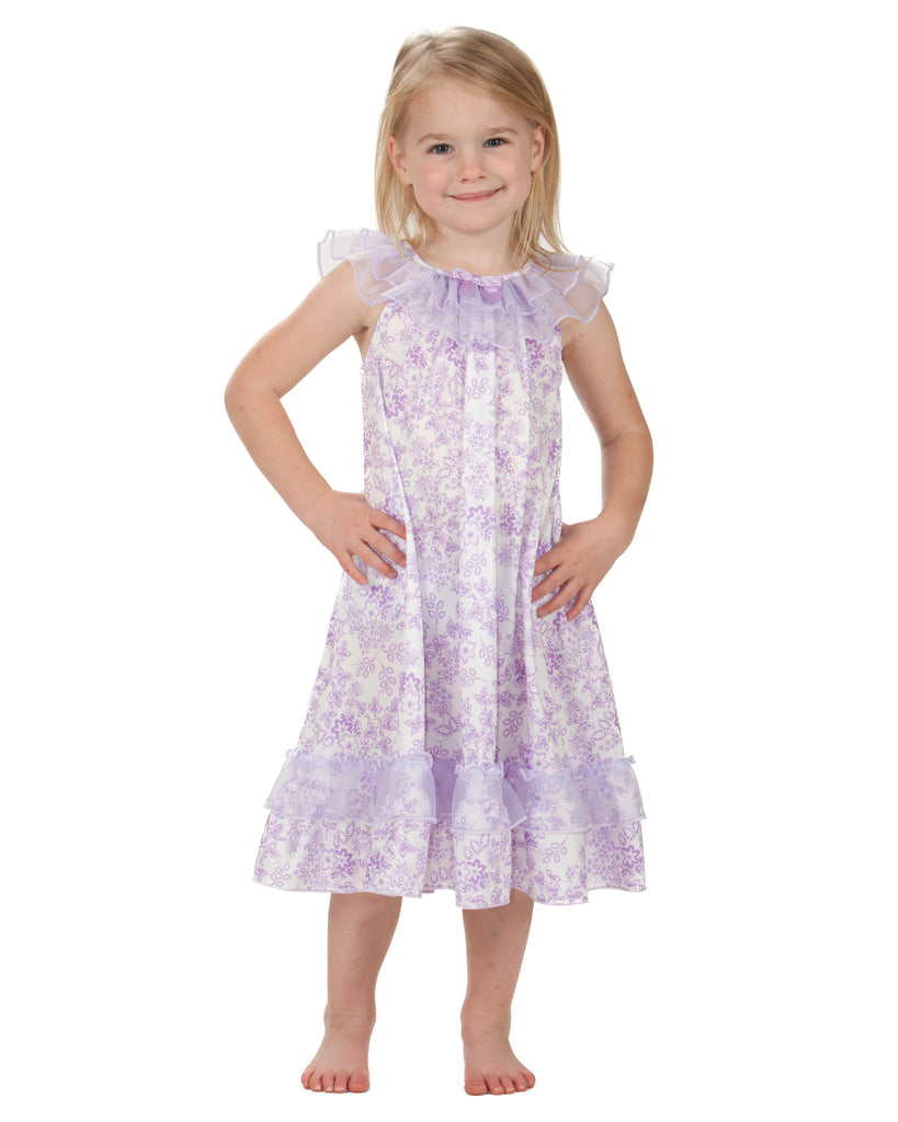 Laura Dare Lovely Lavender Floral Frilly Nightgown (2T - 10) - Laura Dare - Laura Dare Sleepwear - 1