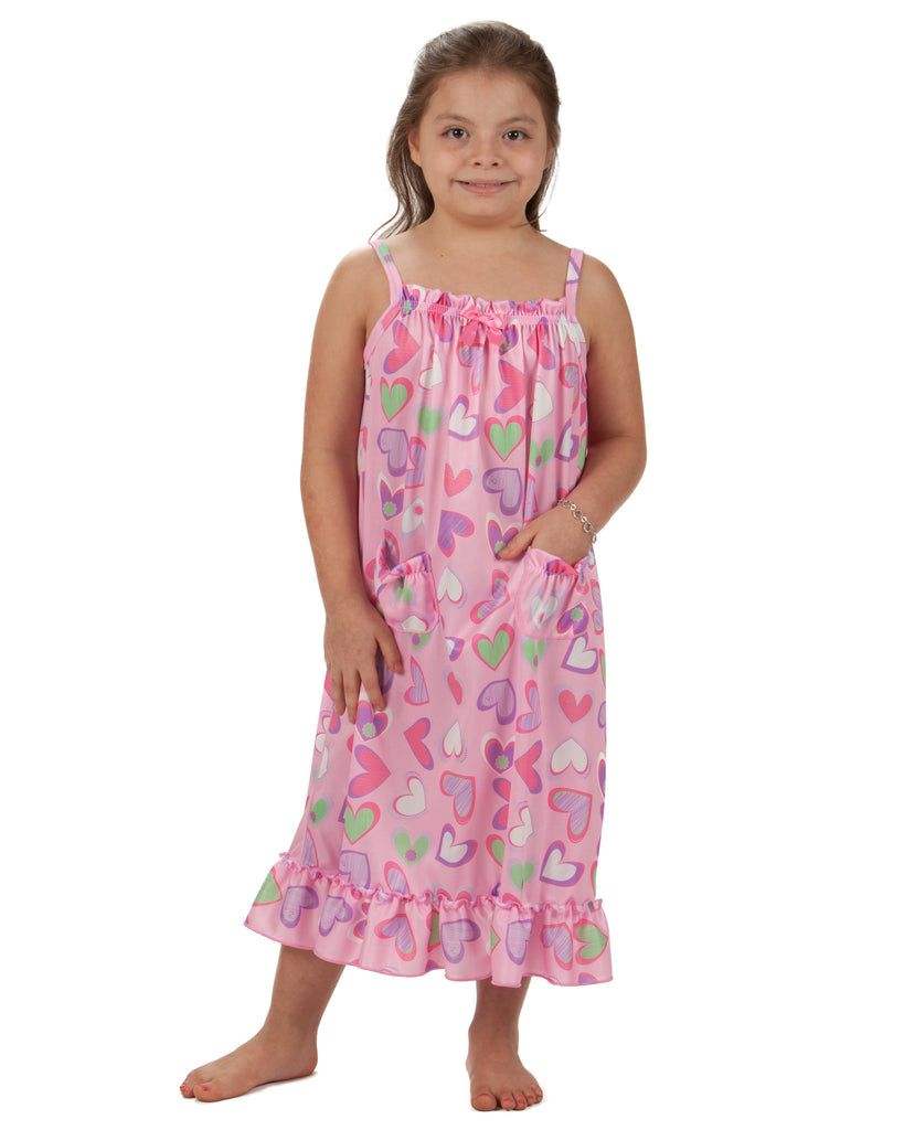 Laura Dare Heart To Heart Spaghetti Strap Gown With Pockets (2T - 14) - Laura Dare - Laura Dare Sleepwear