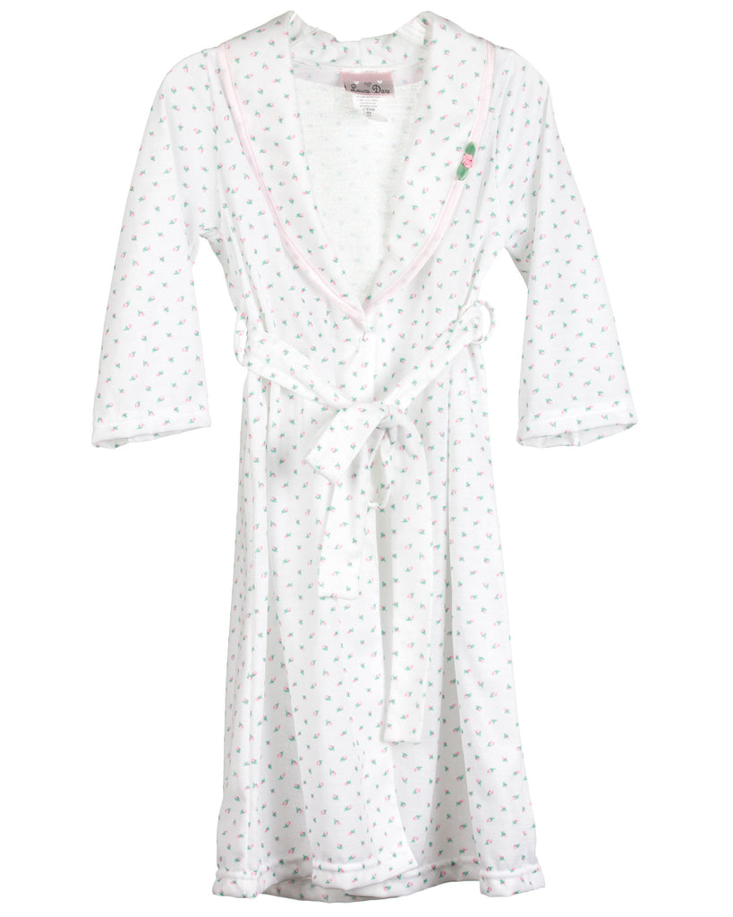 Girls Rosebud Jersey Bath Robe Wrap (2T-14) - Laura Dare - Laura Dare Sleepwear