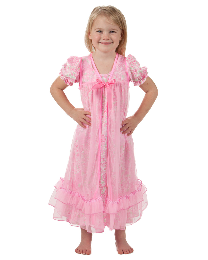 Laura Dare Blossoms Peignoir Nightgown and Robe Set (2T - 14) - Laura Dare - Laura Dare Sleepwear