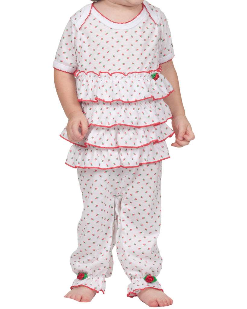 Infant Girls Holiday Rosebud Frilly Romper (NB-24m) - Laura Dare - Laura Dare Sleepwear