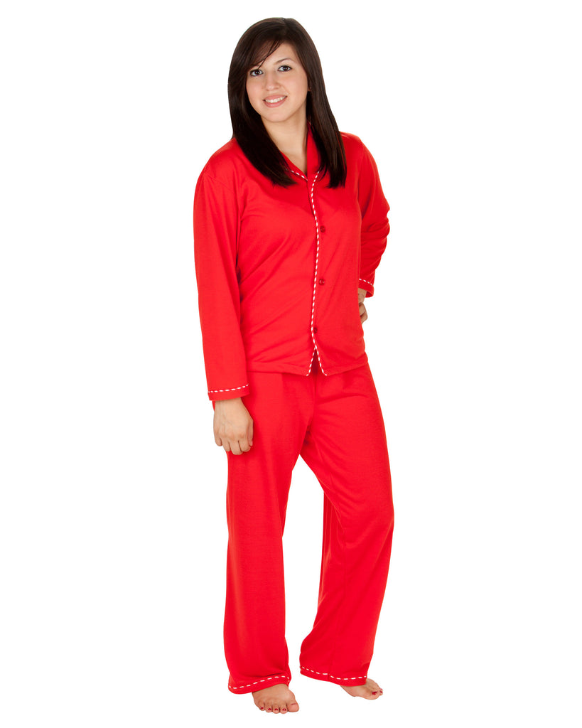 Adult Red Tailored Pajama Set - Red & White Piping | Tom & Jerry