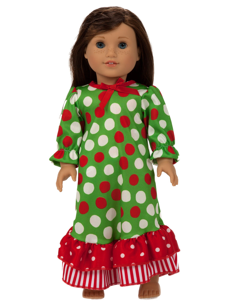 American Girl Doll Clothes - Santa Dots Gown | Laura Dare Sleepwear