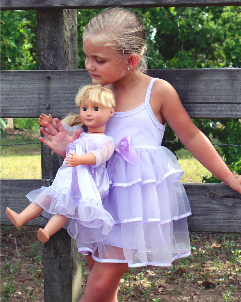 Little Girls Pastel Perfection Lilac Spaghetti Strap Gown - Laura Dare - Laura Dare Sleepwear - 4