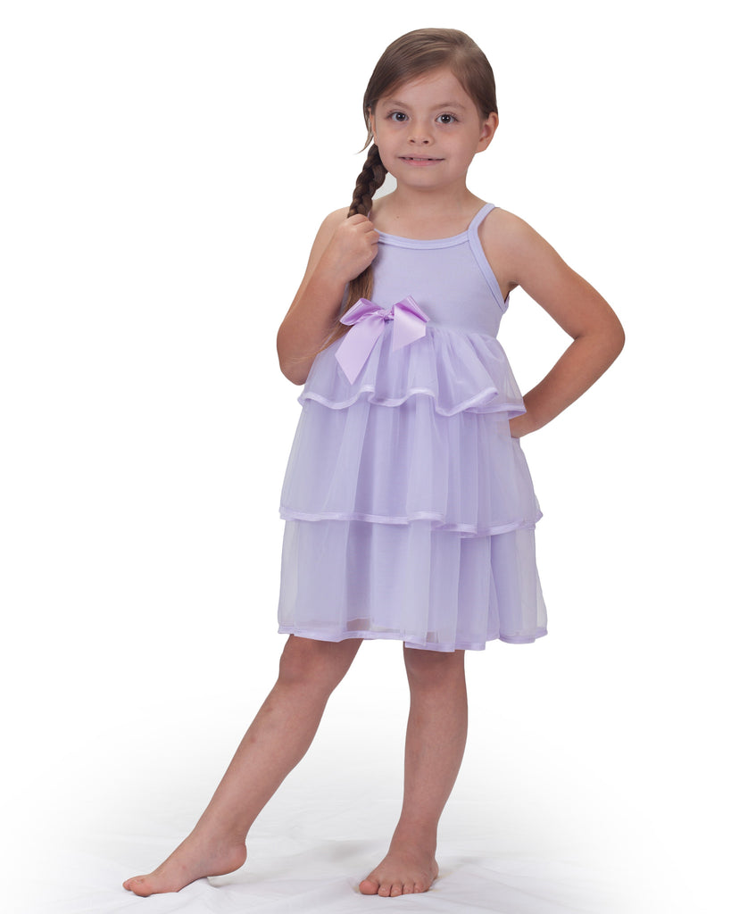 Little Girls Pastel Perfection Lilac Spaghetti Strap Gown - Laura Dare - Laura Dare Sleepwear - 1