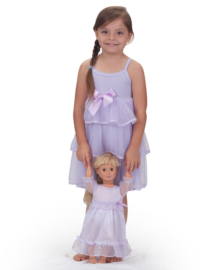 Little Girls Pastel Perfection Lilac Spaghetti Strap Gown - Laura Dare - Laura Dare Sleepwear - 3