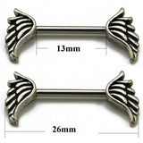 1Pair Titanium Barbell Piercing Nipple Piercing Skull Anchor Wing Hand Nipple Shield Ring Bar Body Jewelry