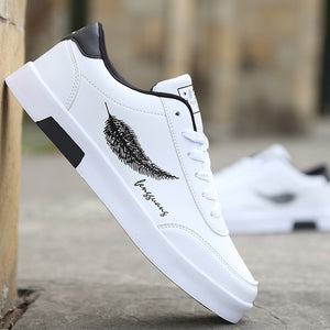 New Men's Canvas Shoes Skateboard Sports Casual Wild Men's Outdoor Casual Shoes Feather White Shoes