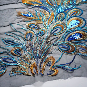 Large Blue Embroidery Sequin Peacock Feather Fabric Lace Applique Net Trim Sewing Collar Patch Motif Wedding Dress Bridal DIY Crafts