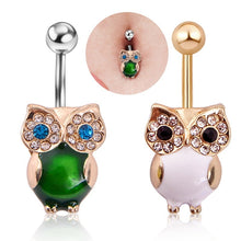 Load image into Gallery viewer, 1 PC  High-quality puncture jewelry Korean popular owl inlaid with owl's eye stone Navel Ring Navel button