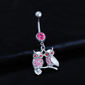 1 PC  High-quality puncture jewelry Korean popular owl inlaid with owl's eye stone Navel Ring Navel button