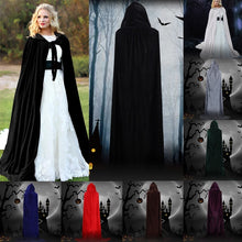 Load image into Gallery viewer, Halloween Hooded Cloak Velvet Witches Princess Death Long Cape Adult Kids Costume Cosplay Outwear