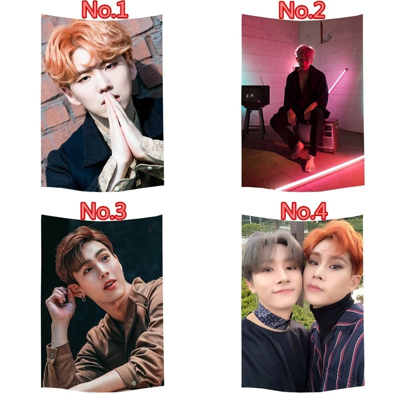 70x105cm /100x150cm Trendy K-Pop Popular MONSTA X  Printing Polyester Tapestry Wall Hanging  Home Decor Poster Sofa Dormitory Wall Decoration Tapestries