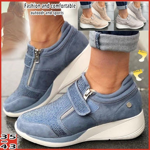 New Fashion Women's Breathable Shoes Outdoor Casual Shoes Wedge Sneakers Women's Plus Size Shoes: 35-43
