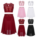 2Pcs Big Girls Shiny Sequins Modern Ballet Lyrical Dance Outfit Sleeveless Lace Crop Top with Chiffon Skirt