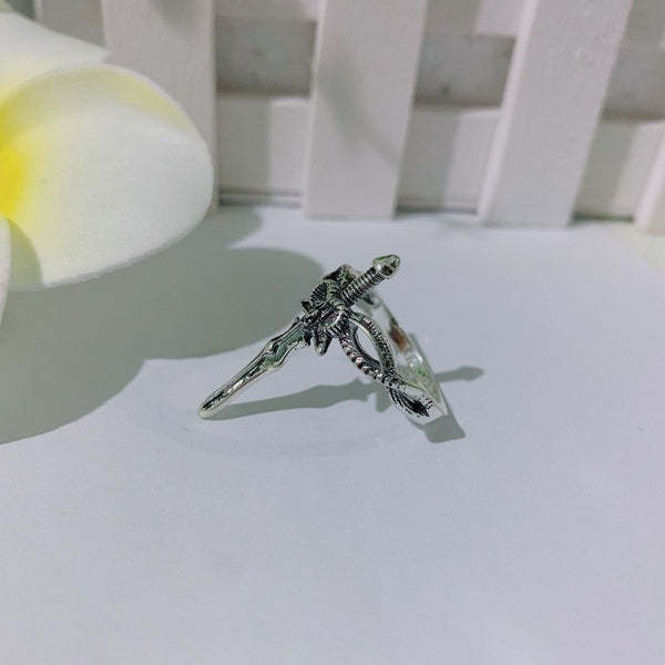 Unique Handmade Knight Sword Cross Ring 925 Sterling Silver Sword Ring for Women and Men Jewelry