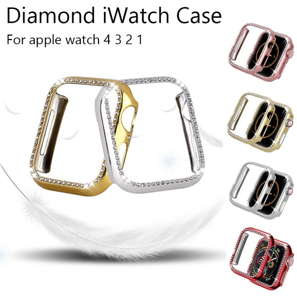 For apple watch case 38mm 42mm 40mm 44mm women Diamond Bling Crystal Metal stainless steel Protective case for apple watch Series 4 3 2 1 iWatch cover