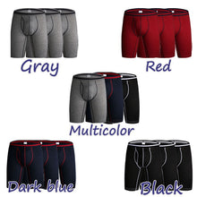 Load image into Gallery viewer, 3 Pieces / Pack Men's Plus Size No Ride Up Long Leg Boxer Underwear Briefs
