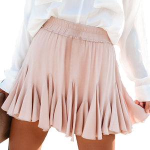 High Waist  Pleated Short Skirt Fashion Cute Skirt for Women Solid Color  Casual Loose All-match  Mini Skirt