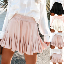 Load image into Gallery viewer, High Waist  Pleated Short Skirt Fashion Cute Skirt for Women Solid Color  Casual Loose All-match  Mini Skirt