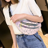 New Fashion Women Casual Waist Bags Geometric Patterns Wallet Phone Bags Crossbody Bags
