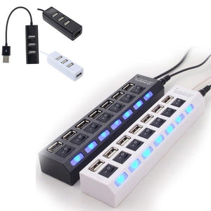 4 Ports/7 Ports LED USB 2.0 Adapter Hub Power on/off Switch For PC Laptop BK USB Port Hubs