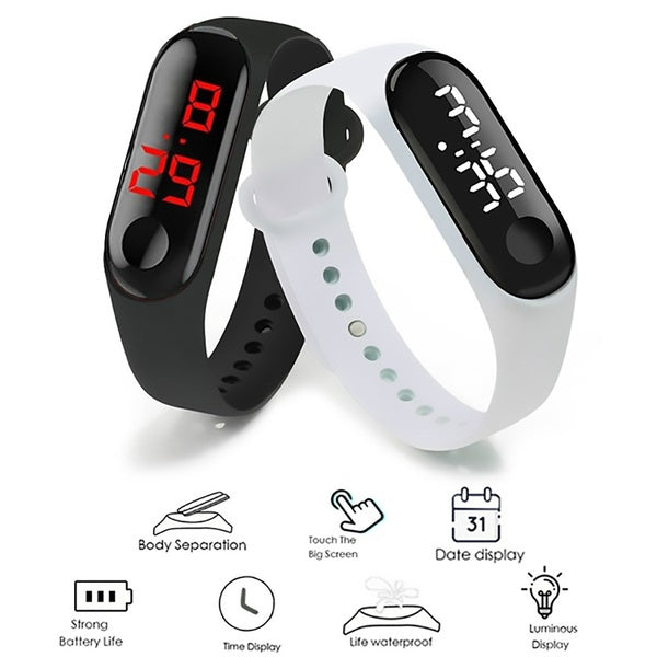 Men LED Digital Watch Luxury White / Red Light Touch Screen Silicone Strap Wristwatch Women Sports Yoga Bracelets Watches Kids Clocks