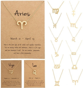 12 Constellation Pendant Necklace Zodiac Sign Necklace Birthday Gifts Message Card for Women Girl Jewelry Gifts