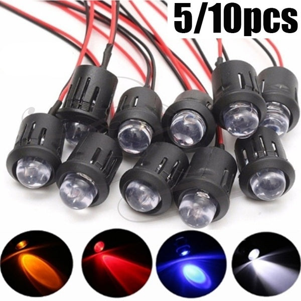 5/10pcs New 12V 10mm Waterproof Pre-Wired Constant LED Ultra Bright Water Transparent Bulb