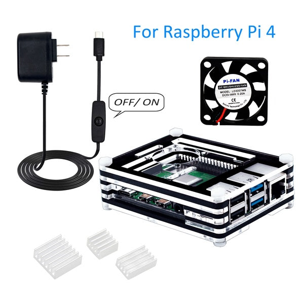 Raspberry Pi 4 Case with Fan,5V 3A USB-C Power Supply with On/Off Switch,3pcs Heat-Sinks,for Raspberry Pi 4 Model B