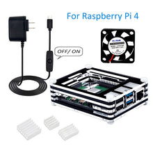Load image into Gallery viewer, Raspberry Pi 4 Case with Fan,5V 3A USB-C Power Supply with On/Off Switch,3pcs Heat-Sinks,for Raspberry Pi 4 Model B