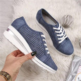 Women Wedge Shoes Summer Autumn Casual Sneakers Breathable Platform Sneakers Meddle Heel Pointed Toe Shoes