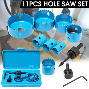 11PCS Hole Saw Kit for Wood 3/4  -5   with Case for PVC Board Plastic Plate Drilling Drywall and Soft Wood