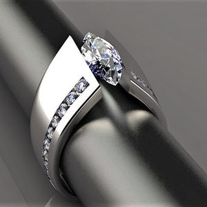 Fashion Zircon Ring Women's 925 Sterling Silver White Sapphire Diamond Ring Creative Horse Eye Ring Princess Party Engagement Wedding Ring Banquet Gift Jewelry