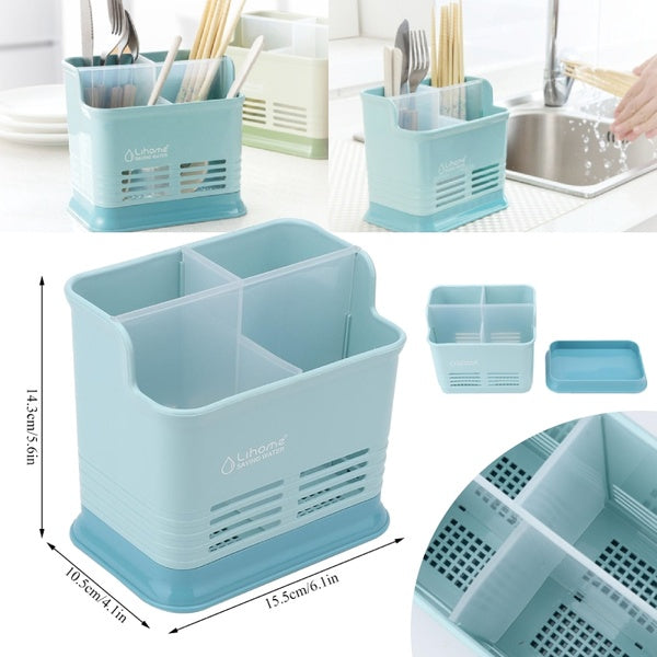 Grid Kitchen Storage Box Hollow Chopsticks Spoon Fork Drain Storage Rack