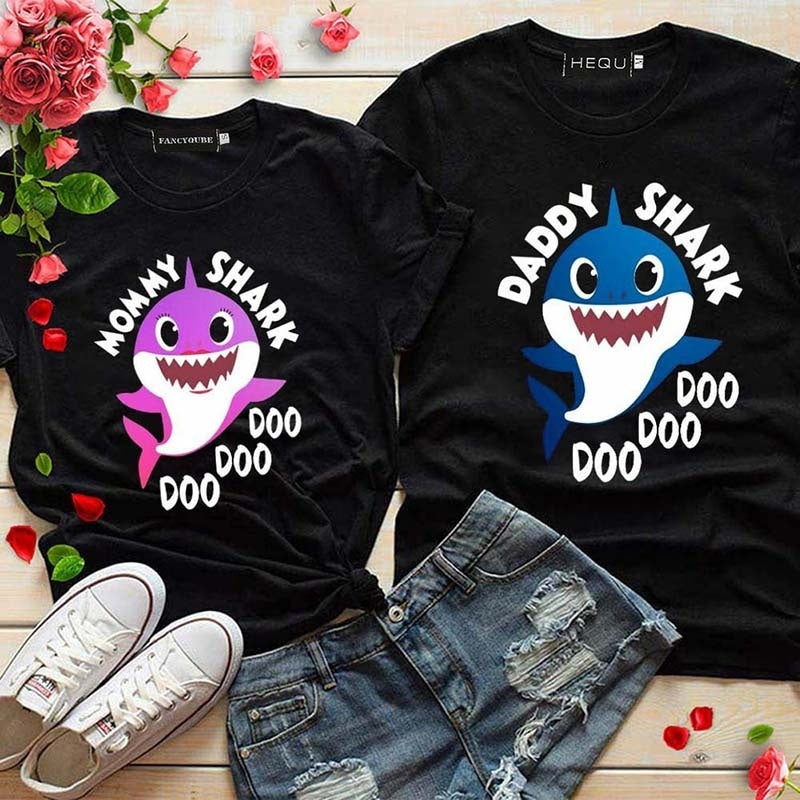 2019 Fashion Men And Women Shark Printing T-Shirt Casual Short Sleeve Daddy And Mommy T-Shirt Tops Family T Shirt Tops