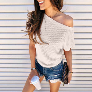 Women Fashion Solid Color Off One Shoulder Short Sleeve Tops Summer Casual Loose Tshirt Plus Size