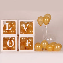 Load image into Gallery viewer, 4pcs/set DIY Transparent Box Latex Balloon BABY LOVE Blocks for Boy Girl Baby Shower Wedding Birthday Party Decoration Backdrop (without balloons)