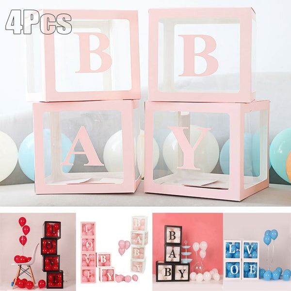 4pcs/set DIY Transparent Box Latex Balloon BABY LOVE Blocks for Boy Girl Baby Shower Wedding Birthday Party Decoration Backdrop (without balloons)