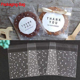 100pcs  Frosted Dots Plastic Pack Candy Cookie Baking Packaging Bags Self-Adhesive Party Biscuit Dots Wrapping Supplies