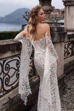 Load image into Gallery viewer, 2019 Women's Fashion V-neck White Lace Dress Long Sleeve Elegant Evening Party Dress Slim Backless Wedding Dress