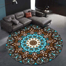 Load image into Gallery viewer, Fashion Retro Carpet European and American Style Palace Flower Round Carpet Bedroom Living Room Velvet Anti-slip Floor Mat Ethnic Style Rugs