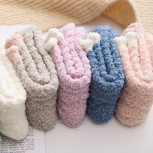 1Pair Fashion Elastic Home Women Girls Soft Bed Floor Socks Fluffy Warm Winter Breathable Pure Colors Socks