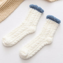 Load image into Gallery viewer, 1Pair Fashion Elastic Home Women Girls Soft Bed Floor Socks Fluffy Warm Winter Breathable Pure Colors Socks