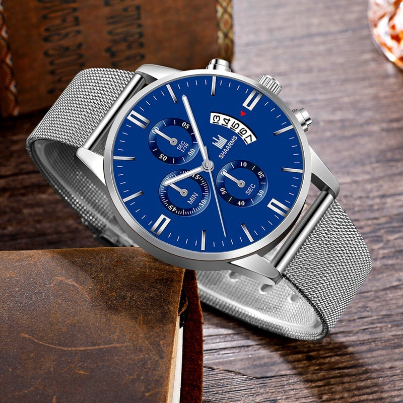 SHAARMS Fashion Mens Simple Dial Wrist Watches Casual Luxury Mesh Belt Strap Quartz Watch Clock Men Dress Watch Reloj